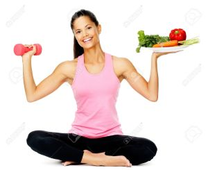 13303085-Portrait-of-a-healthy-woman-with-vegetables-and-dumbbells-promoting-a-healthy-fitness-and-eating-lif-Stock-Photo